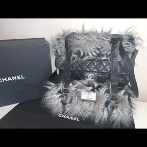 Authentic Chanel fantasy fur backpack bum bag set